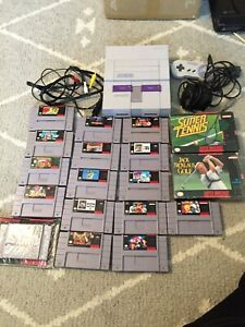 Super Nintendo SNES Console Bundle With 18 Game Lot Mario Pac-Man Donkey Kong