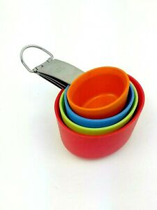 Paderno Stainless amp; Silicone Nesting Measuring Cup Set 4 Piece Bright Colors