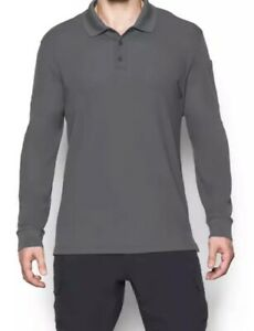 Under Armour Tactical Performance Long Sleeved Men's Polo Shirt Grey 12060 Laege