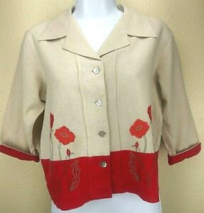 ColdWater Creek Womens Blouse Red Floral 3/4 Sleeve Cropped Embroidery Size XS