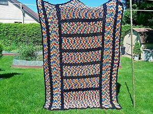 Vintage Hand Crafted Crocheted Granny Afghan Blanket 5' x 6'-6