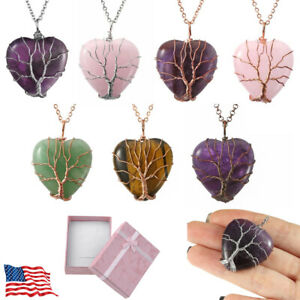 Womens Natural Stone Crystal Tree Of Life Wire Wrap Heart Pendant Necklace Gift