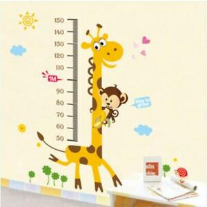 Kids Giraffe Height Chart Removable Bedroom Art Mural Vinyl Wall Sticker