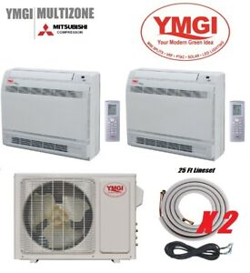 YMGI 24000 BTU 12K12K Two Zone Ductless Mini Split floor Mount with lineset