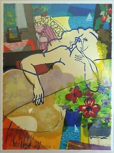 Michael Leu Painting Signed numbered litho Waterfront Villa II 1988 Large Art