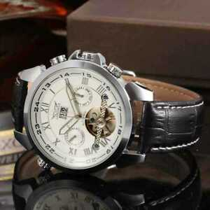 Mens Watch Mechanical White Dial Black Leather Strap Auto Date Analog Luxury