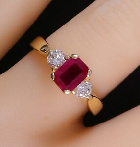 Elegant 14k Yellow Gold Natural Bright Red Ruby & Diamond 1.65 CTW 3 Stone Ring