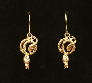 Coiled Snake Dangly Earrings in 14K Yellow Gold with Diamond Head Accents 3.7g