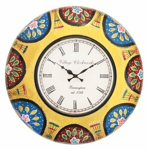 12 Inch Painting Antique Style Clock Non Ticking Decorative Wall Clock