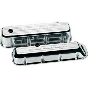 BILLET SPECIALTIES BBC Polished Fits Chevrolet Logo Tall Valve Covers P/N 96123