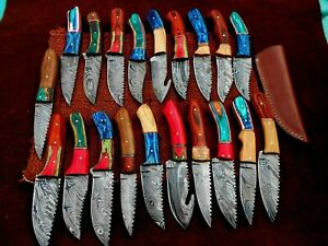 CUSTOM HAND MADE DAMASCUS STEEL FIX BLADE HUNTING KNIVES.(LOT OF 20) DK-0442