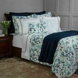 Sferra TOTOLLA KING Duvet Cover & Shams 3 PC Set Turquoise Percale  ITALY - NEW!