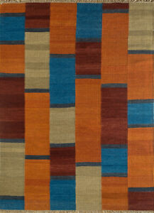 Hand Woven Red and Orange Colour 5X8 Feet Wool Checked Christmas Area Rug