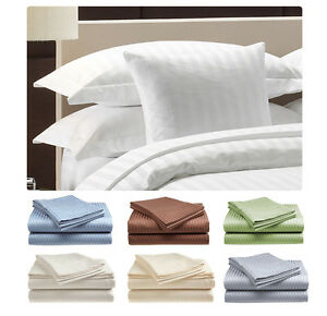 Deluxe Hotel 400 Thread Count 100% Cotton Sateen Dobby Stripe Bed Sheet Set