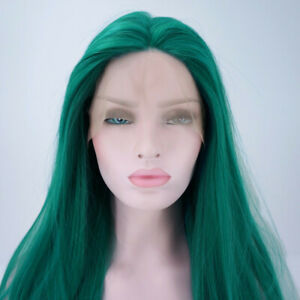US 24 Green Lace Front Wig Handtied Natural Straight Women Heat Safe Fiber Hair $35.99