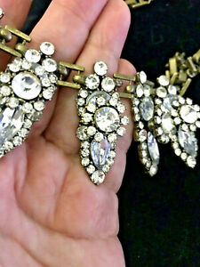 RHINESTONE ANTIQUE GOLD TONE NECKLACE VERY SHINY 3-D 17-20""