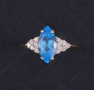Elegant Estate 2.25 CTW Natural Bright Blue Topaz & Diamond Ring
