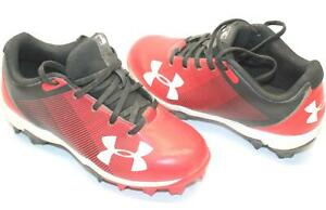 Under Armour 1297316-061 UA Boys LeadOff Low RM Jr. Red Baseball Shoe in US-13K