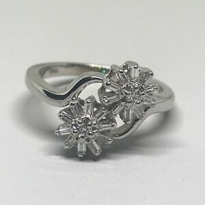 14 Karat White Gold Vintage Diamond Flower Ring Size 7 by Diamond Designs