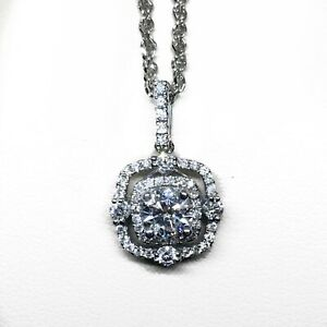 14 Karat White Gold Diamond Halo Pendant by Diamond Designs