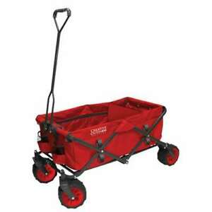 Creative Outdoor LB Capacity Durable All-Terrain Folding Wagon, Red (Open Box)