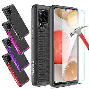 For Samsung Galaxy A20 A10e Shockproof Phone Case Cover + Glass Screen Protector