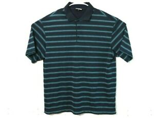 Nike Golf Navy Blue Green Striped Fit Dry Rugby Athletic Polo Shirt Mens Large L