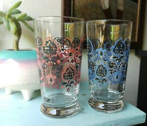 Anthropologie Juice Glass Cup Set Of 2 Ikat Design