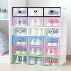 Clear Drawer Shoe Box Storage Organizer Plastic Stackable Foldable Wardrobe Case