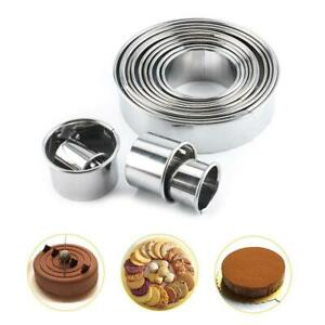 14PCS Stainless Steel Round Cookie Biscuit Pastry Cutter Baking Cake Mold Tools