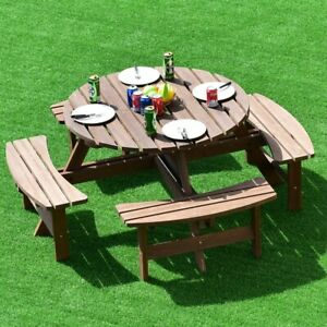 Round Picnic Table with 4 Benches Camping Garden Patio Party BBQ Wood Dining Set