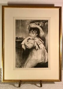 "Jacques-Émile Blanche (b.1861) ""Petite Fille"" Antique Stone Litho Framed RARE"