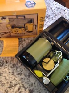 Vintage Montgomery Ward Camping Electric Coffee Pot Travel Kit NOS New
