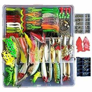 275pcs Freshwater Fishing Lures Kit Tackle Box Included Frog Spoons Saltwater