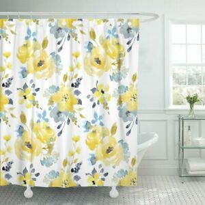 Emvency Shower Curtain Black Floral Watercolor Bright Summer Pattern Yellow And