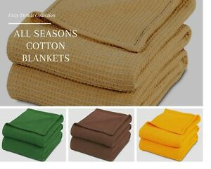 100% Soft Premium Combed Cotton Thermal Blanket– Soft Cozy Warm All Season