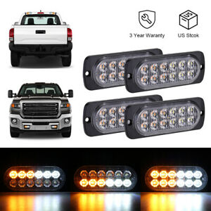 4PCS Amber White 12LED Car Truck Emergency Warning Hazard Flash Strobe Light US