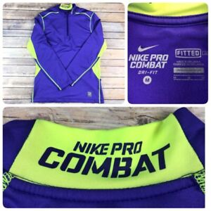 Nike Pro Combat Fitted Dri-Fit Pullover Hyperwarm Shirt Purple Mens Medium