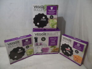 4 Pc Veggie Bullet Custom Fit Bowl With Lid & 3 Blades Ribbon Udon Tornado New