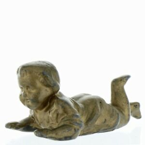 Antique Heavy Lead Crawling Baby Paperweight Figurine