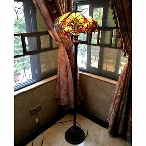 Tiffany Style Victorian Design 2-light Bronze Floor Lamp Stained Glass Handcraft