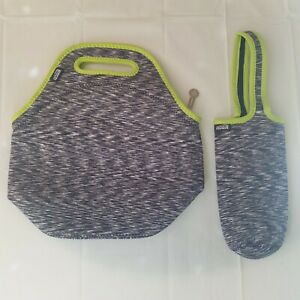 Neoprene Insulated Soft Lunch Bag Tote and Drink Holder Set Gray Green
