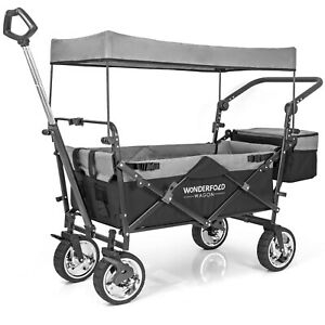 WonderFold Push Pull Utility Folding Wagon with Removable Canopy