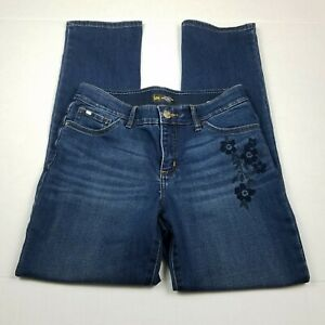 Lee Jeans Womens Size 8 Blue Straight Floral Embroidered Elastic Waist Stretch