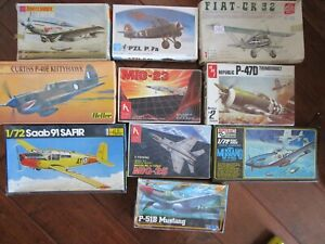 LOT of 10 Vintage Model AirPlane Kits 1/72 AMT MPC Heller Hobby Craft Matchbox