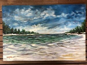 Original painting on board by Bahamiam artist Wayde Taylor beach scene signed