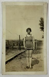 Shy Full Figured Woman On A Summer's Day, Vintage Photo Snapshot