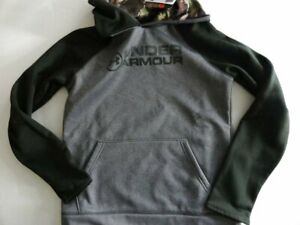 NWT Under Armour Boy's Large Storm Stacked Gray Camo Fleece Pullover Hoodie $39.99