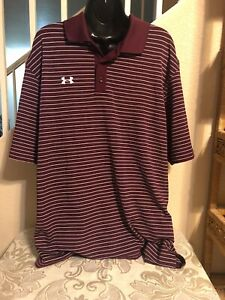Under Armour Men's Polo Shirt Cranberry Striped Large