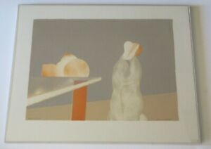SIGNED MYSTERY ARTIST LITHOGRAPH ABSTRACT SURREALISM NUDE FIGURES AND FRUIT VNTG $264.00